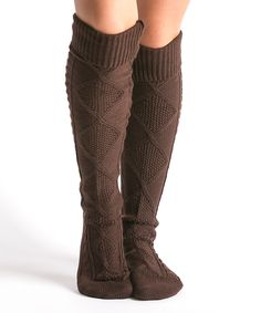 Another great find on #zulily! CoziBear Boutique Brown Diamond-Knit Knee-High Socks by CoziBear Boutique #zulilyfinds