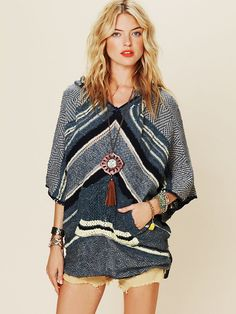 Free People Rising Tides Hooded Poncho. want this.