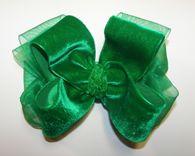 Emerald Green Velvet Organza Girls Hair Bow