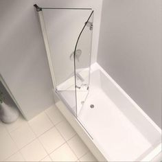frameless hinged tub door in chrome with handle