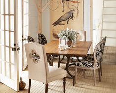 Dining Room by Horchow. Features a dining table by Vanguard Furniture - Make It Yours Collection. http://www.vanguardfurniture.com/PersonalizedTableTopsBase.inc