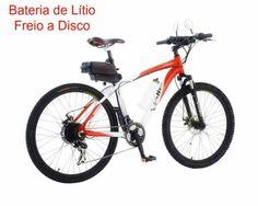 Bicicleta Eletrica Eletrika 3000 Vermelha-Bateria de Litio-Freio a Disco R$ 2.699,00 ComprasMuitoMais.com.br