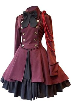 YUANDONGXING Women Long Sleeve Dresses Medieval Renaissance Vintage Gothic Lolita Dress Cosplay Ruffle Bow Tie Button Lace Up Knee Length Dress Wine Red: Amazon.co.uk: Clothing