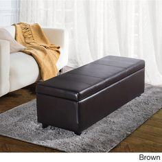 """Franklin Large Rectangular Faux Leather Storage Ottoman Bench   Overstock.com Shopping - The Best Deals on Ottomans 16"""" H"""