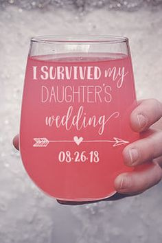 Mother of the Bride Gift - Custom Personalized Stemless Wine Glass Tumbler - Present for Mother of the Bride or Father of the Bride Gift #weddings #weddingdresses #engagementrings
