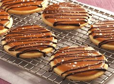 INGREDIENTS: Cookies: 1 1/2 cups unsalted butter, softened 3/4 cup sugar 1 teaspoon vanilla 3 1/2 cups Gold Medal® all-purpose flour Topping: 1 bag (14 oz) caramels, unwrapped 2 tablespoons milk 4 oz semisweet chocolate, chopped 1 tablespoon butter 1 teaspoons coarse (kosher or sea) salt DIRECTIONS: 1. Heat oven to 350°F. In large bowl, beat 1 1/2 cups butter with electric mixer on high speed until creamy. Beat in sugar and vanilla. On low speed, beat in flour...