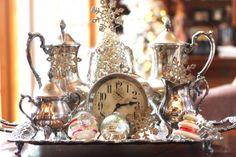 vintage silver, antique clock, old vintage German handblown mercury glass Christmas ornament bulbs