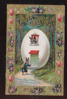 Petite Bunny Rabbits in Easter Egg House Antique Embossed Postcard-bbb247