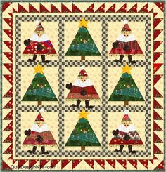 """Dance, Santa, Dance, 33 x 33"""", wall quilt pattern by Quilt Design NW"""