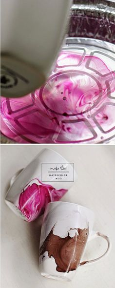 Watercolor Mug DIY this is incredible What a great holiday gift idea