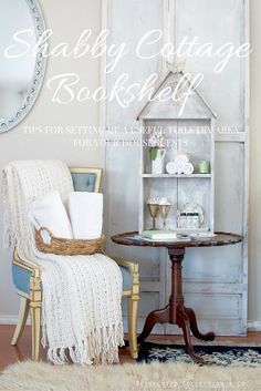 Romantic Cottage Bookshelf styled with toiletries and tips for setting up a special place like this for your houseguests. | Reinvented Collection by Olivia  #