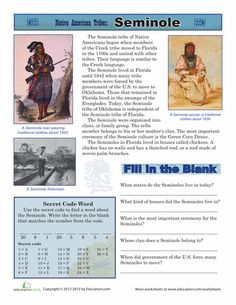 Native American Theme: Worksheets: Native American Tribes: Seminole