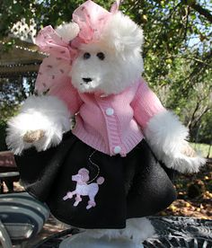 """1950's Poodle Skirt Bear  Suzie is a 15"""" tall, original bear with white plush fur, tapestry paws, a felt poodle skirt and pink knit sweater dressed to go to the Soda Shoppe!"""