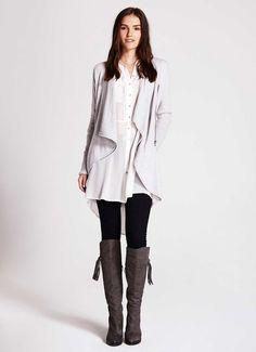 Silver Grey Drape Cardigan | Knitwear | MintVelvet