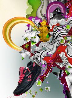 #AkA #illustration #artwork #Reebok #trainer #poster #running #footwear #pen_ink #3D