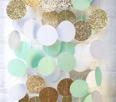 Mint Gold Wedding Garland, Glitter Paper Garland, Mint Wedding Decor, Photo Backdrop, Bridal Party Decorations, Outdoor Wedding, Beach Theme