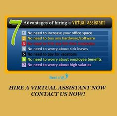 7 Advantages of Hiring a Virtual Assistant. Contact us now: http://www.needava.com/
