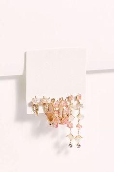 Raw Stone Hoop Earring Set   Free People Boho Jewelry, Jewelery, Jewelry Accessories, Fashion Jewelry, Jewelry Design, Jewelry Necklaces, Raw Stone Jewelry, Stone Earrings, Hoop Earrings