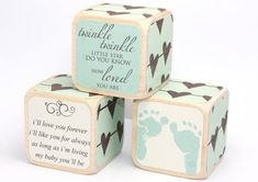 Country Chic - Baby Blocks - Twinkle Twinkle - I'll Love You Forever - Childrens Blocks - Shabby Chic - 2 Inch Wooden Baby Blocks, Baby Name Blocks, Scrap Wood Crafts, Chalk Crafts, Cubes, Christmas Craft Show, Baby Girl Patterns, Craft Show Ideas, Diy Ideas