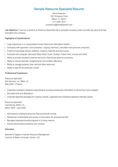sample resource specialist resume