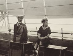 Tsarevich Alexei and his tutor Pierre Gilliard aboard imperial yacht Standart