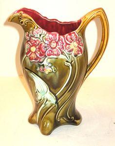 majolica pottery | French majolica pottery pitcher, : Lot 67