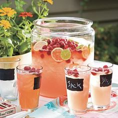 Lovely way to serve a raspberry or strawberry lemonade! The glasses are at Pier 1 and the container is at Target/Wal-mart.