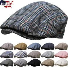 Men s Cabbie Newsboy  amp  Ascot Ivy Hat Cap Plaid Solid Gatsby Golf NEW  ec26722352a8