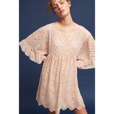 Akemi + Kin Brooke Eyelet Swing Dress ($158) ❤ liked on Polyvore featuring dresses, peach, peach pink dress, eyelet dresses, tent dresses, trapeze dress and pink eyelet dress
