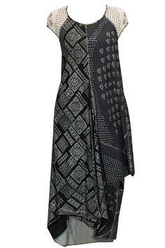 Black and ecru printed draped dress by Urvashi Kaur. Shop at: http://www.perniaspopupshop.com/designers/urvashi-kaur #urvashikaur #dress #perniaspopupshop #shopnow #chic #happyshopping