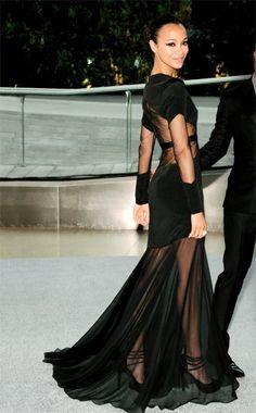 Zoe Saldana wearing a see through dress.