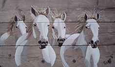 """Crazy horses"" on scaffolding wood"