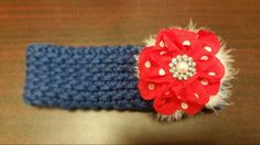 Red, white, and blue ear warmer for an 8 year old girl. Made by Becky Davino of Little Red Wagon Creations