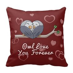 Owl Love You Forever Owls on Branch Throw Pillows