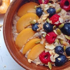 Quick brekkie idea: warm up 1 cup muesli on stove top with 1/2 cup water and 1/2 almond milk. Top with berries, apricot, pumpkin seeds, coconut & love. I also mixed in @whole_food_nutritionista vanilla chai smoothie mix after for a delish cinnamon vanilla finish  #breakfastofchampions #breakfastcriminals