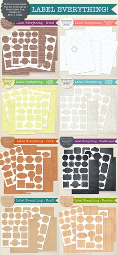 Free printable labels of various sizes that you print on full size label paper. Free printable labels of various sizes that you print on full size label paper. Chalkboard, kraft paper, legal and white options. Printable Labels, Party Printables, Free Printables, Free Label Templates, Labels Free, Web Design, Chalkboard Labels, Label Paper, Spice Jars