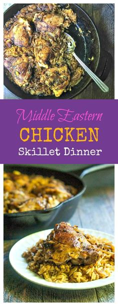This Middle Eastern chicken skillet dinner is an easy dinner with a deliciously unique taste. Spice it up tonight this tasty chicken and rice dish. Middle Eastern Chicken, Middle Eastern Recipes, Healthy Chicken Recipes, Cooking Recipes, Turkey Recipes, Chicken And Rice Dishes, Chicken Rice, Easy One Pot Meals, Skillet Dinners