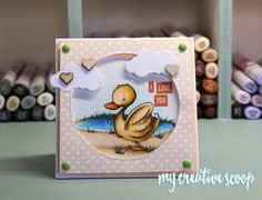 Create a Scene with Copic Markers - I used this adorable Saturated Canary Duck and created a pond behind using my Copic Markers. #saturatedcanary #copic #cardmaking #stamps