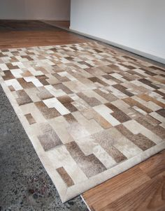 This natural designer cowhide rug by Gorgeous Creatures uses natural pearl beige and pearl grey in L shaped cowhide pieces glued to a rug backing. Because each natural cowhide is unique there can be a natural variation with this colour. Cow Rug, Cow Skin Rug, Cow Hide Rug, Brick Works, Patchwork Rugs, Pearl Grey, Rug Making, Country Decor, Carpet