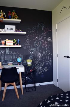 This bedroom boasts a wall in Resene Blackboard Paint, filled with fun doodling. The other walls are painted in Resene Quarter White Pointer. Chalkboard Wall Bedroom, Blackboard Paint, Chalk Wall, Wall Writing, Accent Wall Bedroom, Teenage Room, Blackboards, Diy Room Decor, Boy Decor