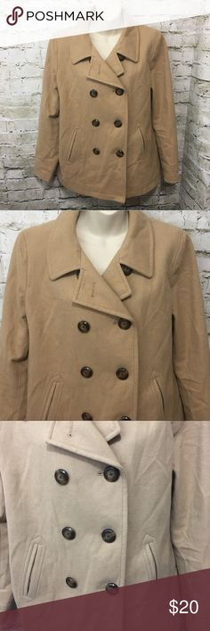 """Old Navy Wool Blend Pea Coat Old Navy Women's Beige Wool Blend Double Breasted Pea Coat Size Large in good used condition.  There is some wear noted.  No stains, tears or rips.  Measurements: Underarm to underarm: 21.5"""" Shoulder to hem: 27"""" Old Navy Jackets & Coats Pea Coats"""