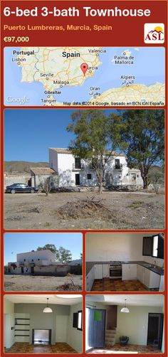 Townhouse for Sale in Puerto Lumbreras, Murcia, Spain with 6 bedrooms, 3 bathrooms - A Spanish Life Valencia, Murcia Spain, Large Homes, Land For Sale, Townhouse, Coastal, Bath, Mansions, Bedroom