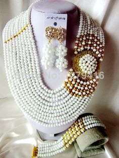 Fashion Nigerian African Wedding Beads Jewelry Set , Crystal Necklace Bracelet Earrings Set  T-812 $73.89