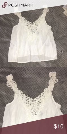 99c29506459008 NWOT white tank with crochet top
