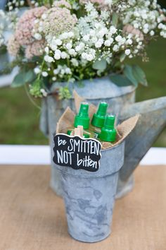 Be smitten not bitten wedding bug spray holder mcandrews wedding rustic wedding bug spray bucket sign junglespirit Images
