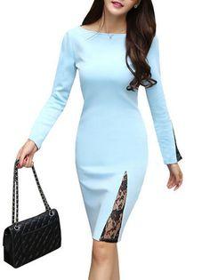 Lace Split Joint Long Sleeve Slash Neck Back Zipper Sheath Dress For Women on buytrends.com