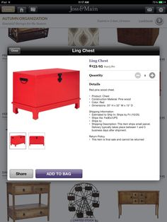 Love the red.  Price is right.  Could make an excellent coffee table for smaller sectional.