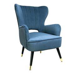 Βελουτέ ύφασμα και μπλε raf σε μια πολύ βολική πολυθρόνα. Accent Chairs, Armchair, Furniture, Home Decor, Upholstered Chairs, Sofa Chair, Interior Design, Home Interior Design, Arredamento