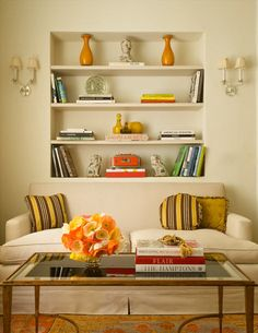 Love recessed shelves - I'll convince Sean of it in the dining room one day. be paint backs a different color?