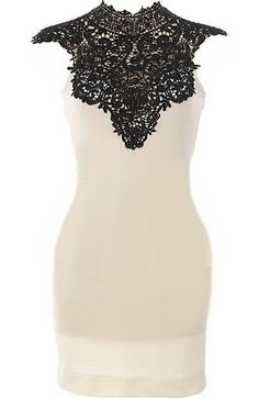 Crochet Neck Dress- Features a scalloped lace stand-up ...
